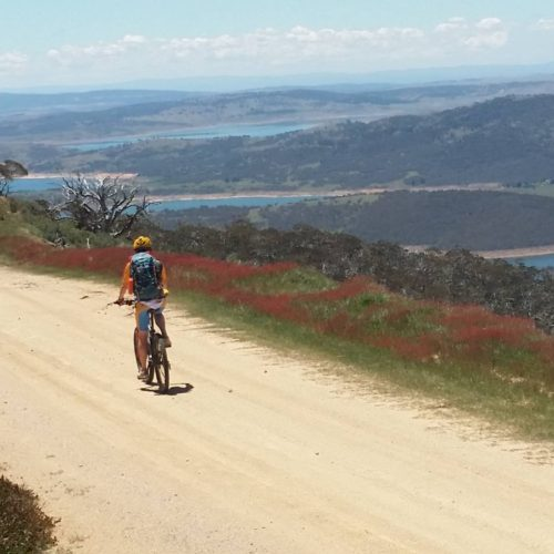 rider on fire trail above lake eucumbene