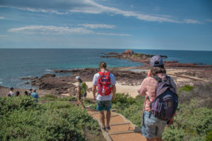 three people walking down a path to a spectacular rocky headland
