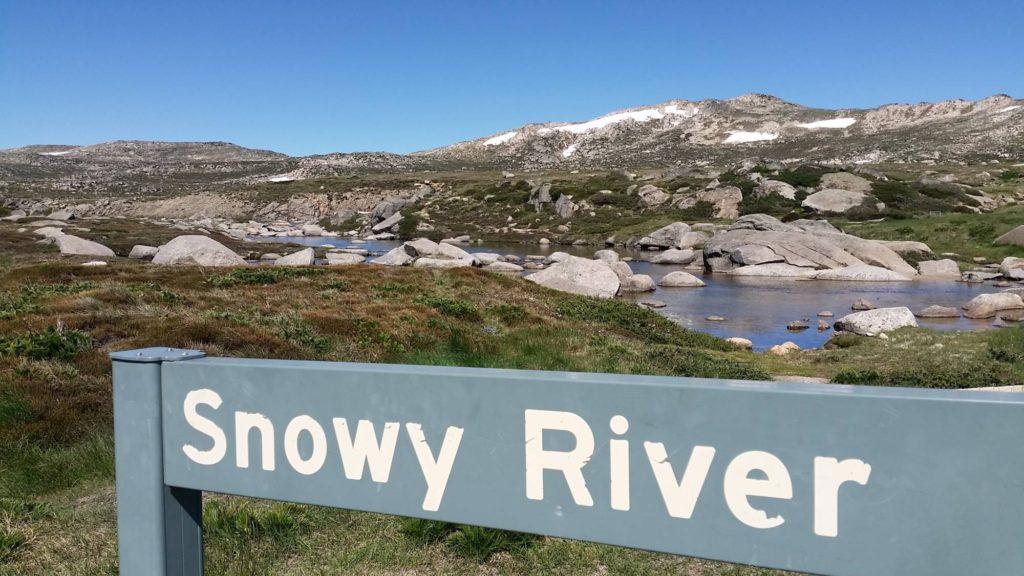 snowy river sign on summit road kosciuszko national park