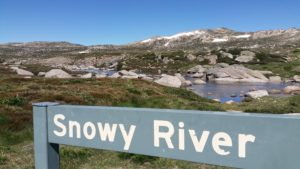 snowy river sign on summit road kosciuszko national park