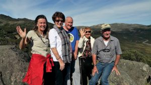 janine and four guests at kosi lookout at charlotte pass