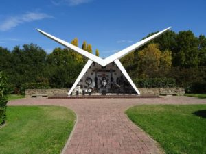 The Southern Cloud Memorial in Cooma resembling white aeroplane wings