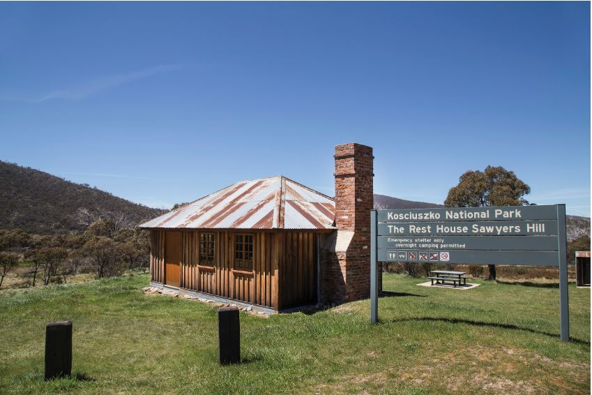 sawyers hill rest house with national park sign in front