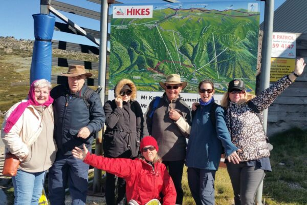 seven people in front of hikes signboard at the top of Thredbo resort