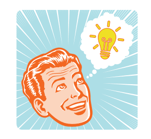 cartoon image of man's head with think bubble with light bulb