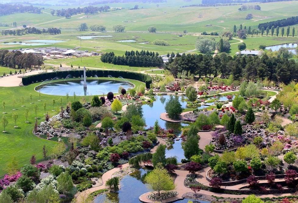 aerial view of extensive manicured garden estate