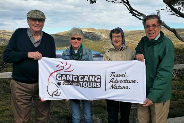 four people with mountains behind holding gang gang tours sign