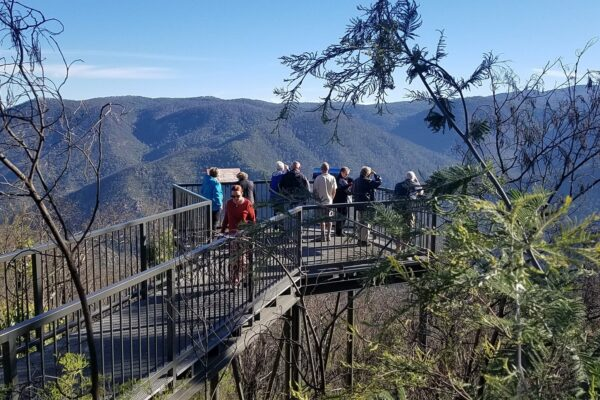several people on high lookout platform with mountains behind