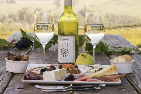 wine bottle and wine glasses and cheese platter on wodden outdoor table